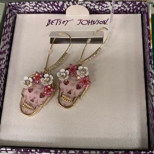 Betsey Johnson Floral Skull Earrings